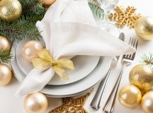 Silver and gold holiday table setting