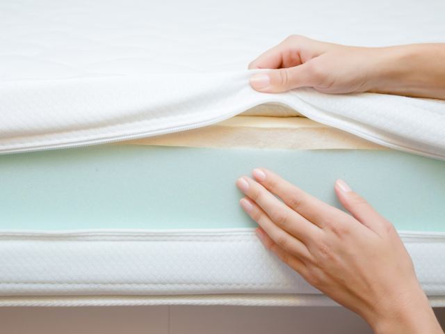 Showing the layers of a mattress