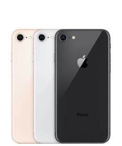 side-by-side image of iphone 8 in black, gray, and pink