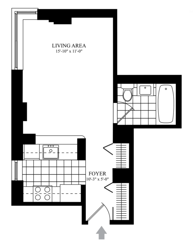 commo studio apartment layout in nyc