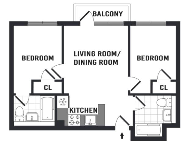 true 2 bed floor plan apartment nyc
