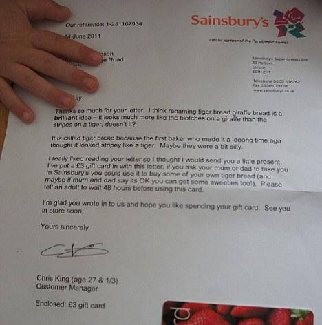 Sainsbury's response to the 3 Year Old