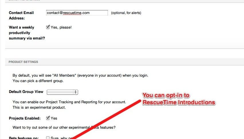 Opt-In to RescueTime Introductions