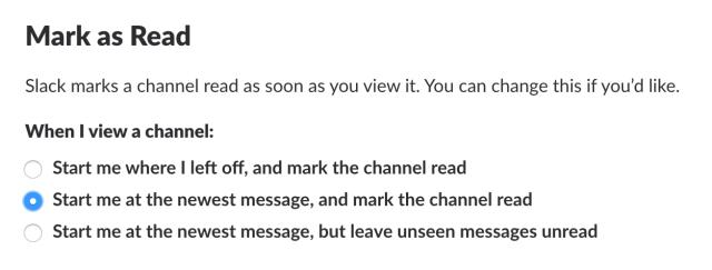 Mark as Read in Slack