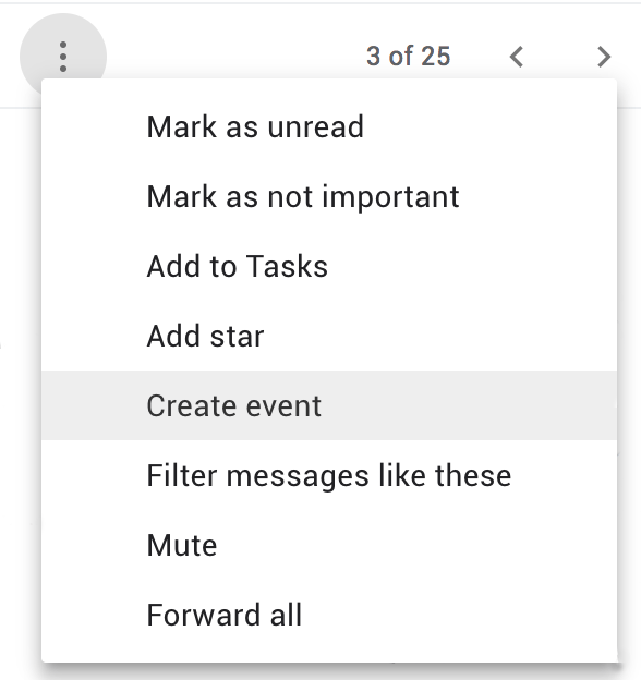 Creat event in gmail