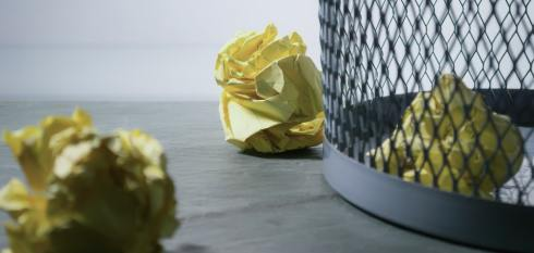 Deprioritize lead - crumbled paper by waste basket