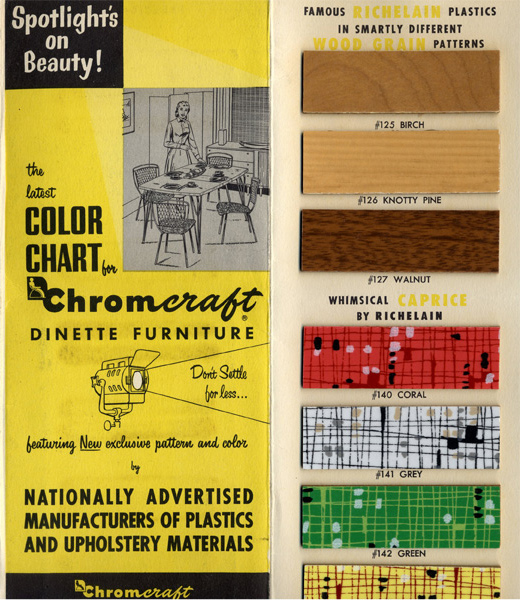 plastic chairs with steel legs retro leather chair and footstool vintage vending archives: 1950s chromcraft dinette furniture color chart