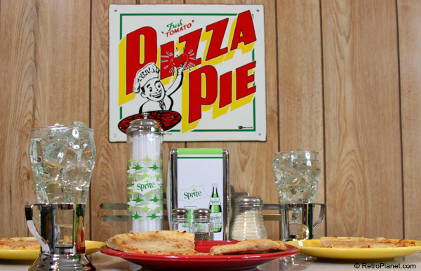 retro kitchen table and chairs set short wall cabinets pizza parlor theme decor