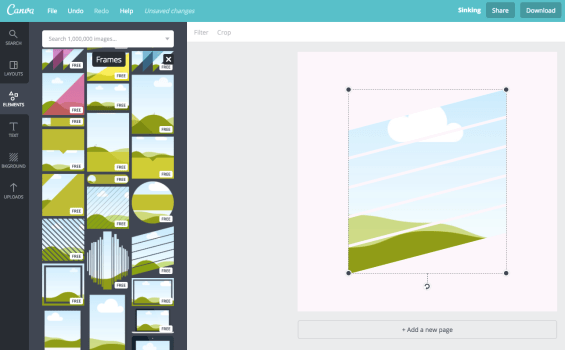 add a frame in canva