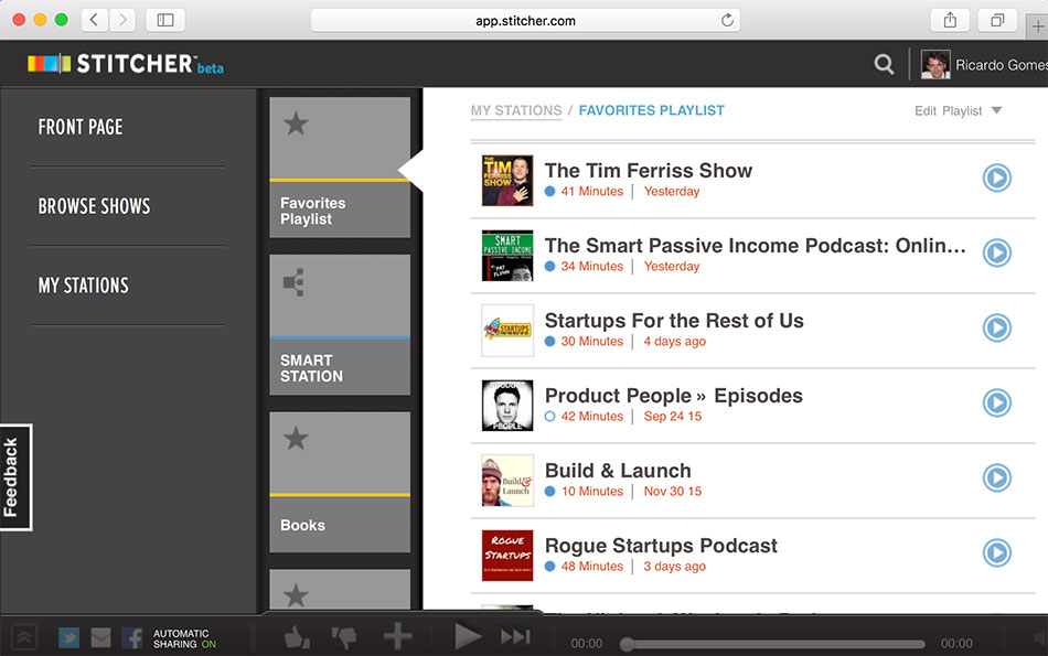 Stitcher Radio - Web