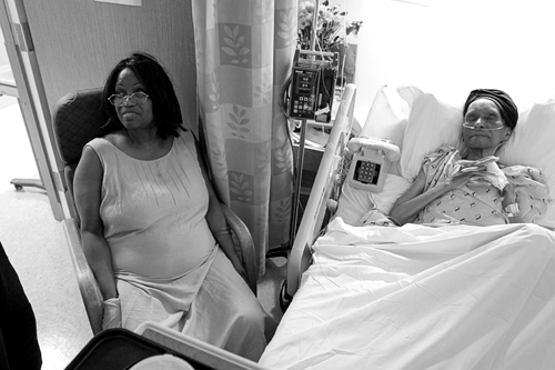 Aunt Maud and my grandmother resting and receiving IV treatments for her dehydration