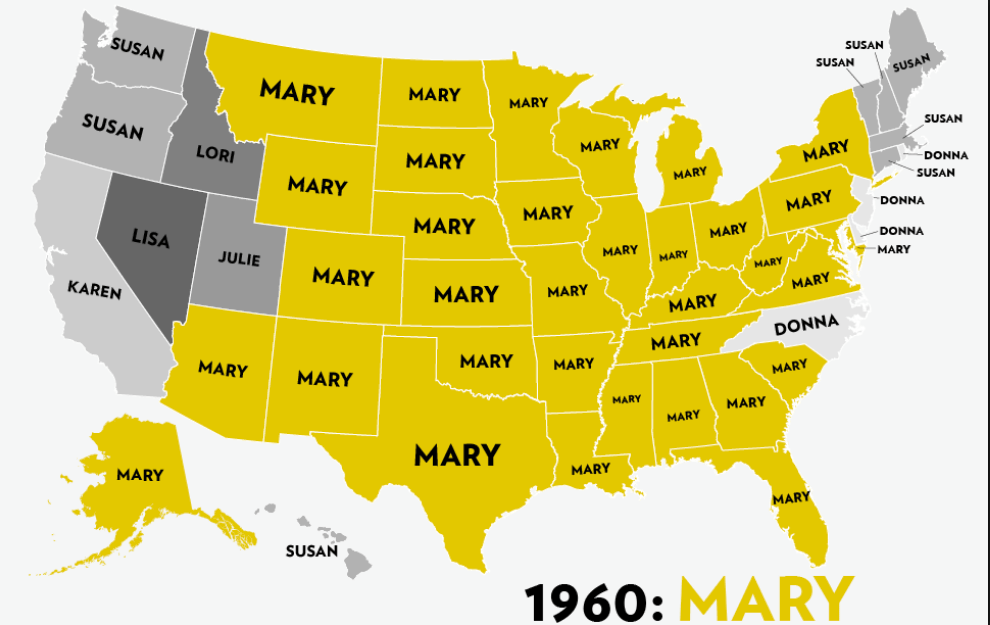 Six Decades of the Most Popular Girls Names: A Map ...