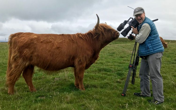 karel bauer holding a large camera on a tripod very close to a cow that is sniffing the camera