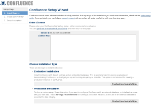 Confluence install wizard