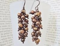 Chocolate Pearl Cluster Earrings  Rings and Things