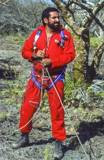 FALCON STATE, VENEZUELA - Aldemaro Romero Jr., Executive Director, BIOMA, during cave exploration in Paraguana in 1988.