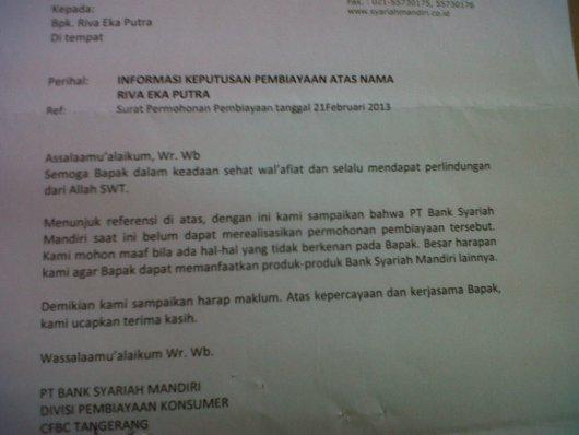Surat Penolakan BSM