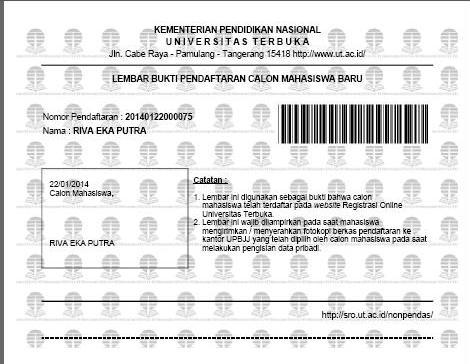 lembar bukti pendaftaran calon mahasiswa baru UT