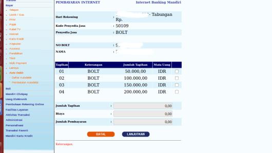Isi Ulang Bolt Via Internet Banking Mandiri2