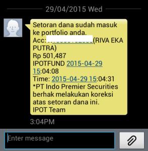 SMS pemberitahuan Reksadana Cair