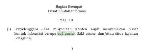 Kata Call Center pada Peraturan  Kemkominfo