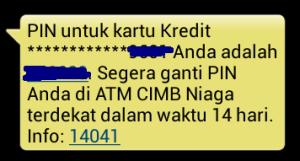 PIN CIMB Niaga Syariah via sms