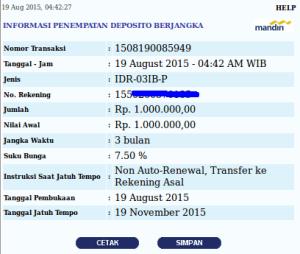 Penempatan Deposito 3 Bulan - 19 Agustus 2015