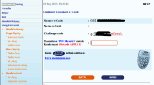 Upgrade mandiri e-cash via internet banking