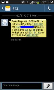 14 pemberitahuan buka deposito berhasil via sms dari 543