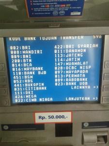 Daftar Kode Bank se Indonesia - layar atm hal 1-