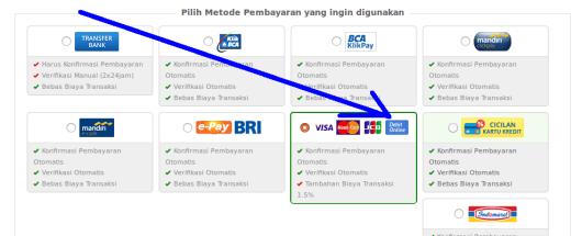 Opsi Bayar pake Kartu Debet Bank