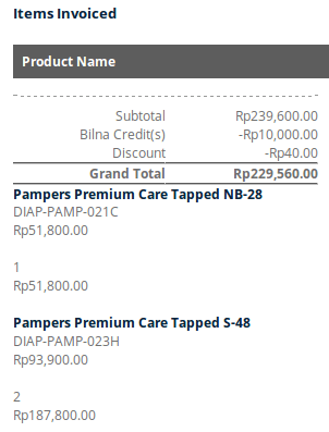 Pampers new born invoice