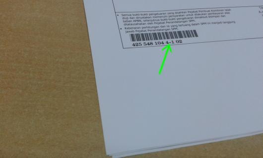 Contoh Barcode SPM (Surat Perintah Membayar) jntuk PINPPSPM