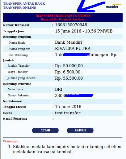 test rek BRI yg tidak aktif memakai internet banking Mandiri