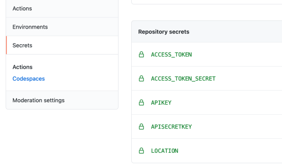 supply the repository secrets in github