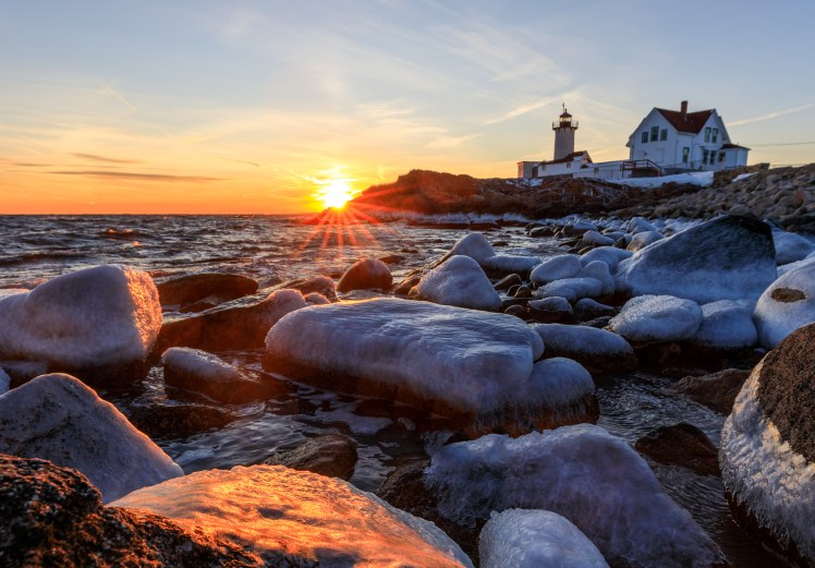 Eastern Point Lighthouse Sunset in winter