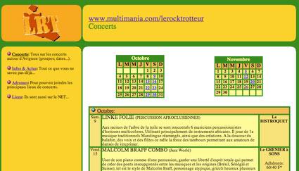 Page concerts de Rocktrotteur en 1999