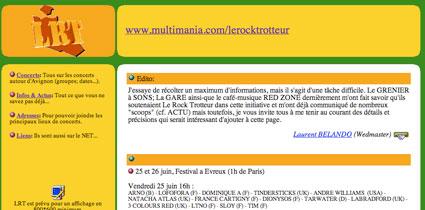 Page d'accueil de Rocktrotteur en 1999