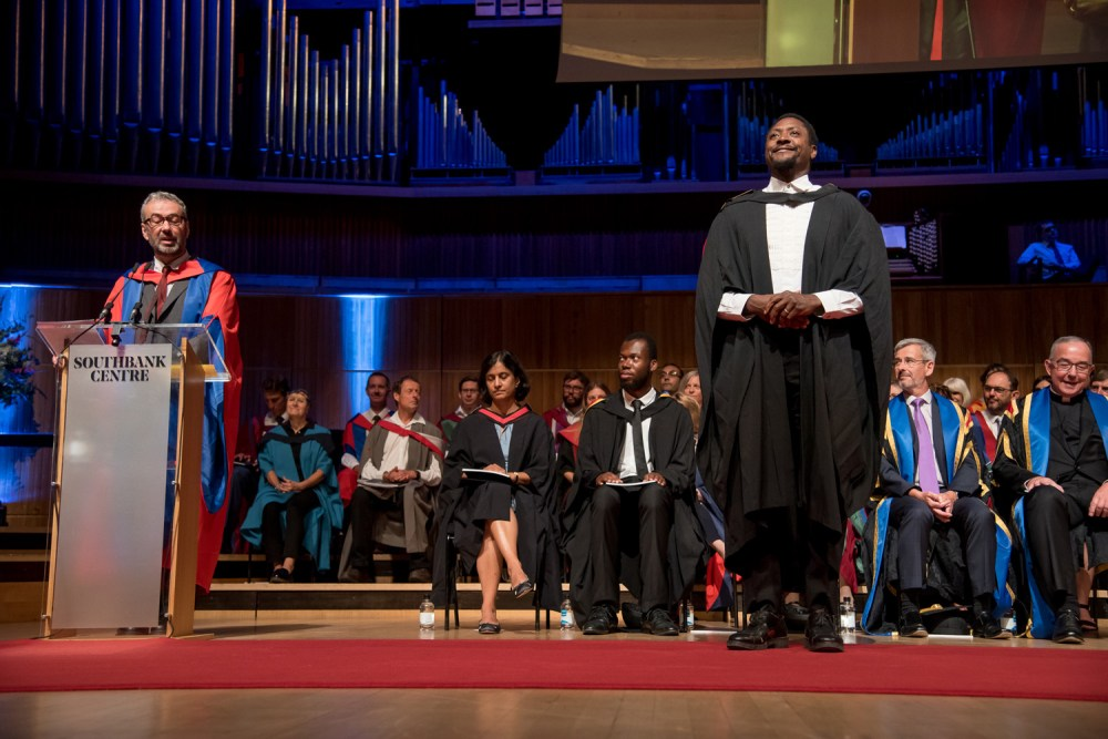 Matt Henry, Oliver Award-winner and Roehampton alumnus, receiving the Vice-Chancellor's Award