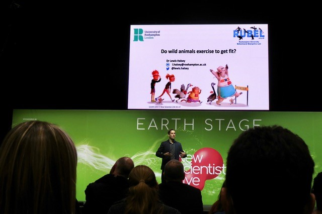 Dr Lewis Halsey on stage at New Scientist Live