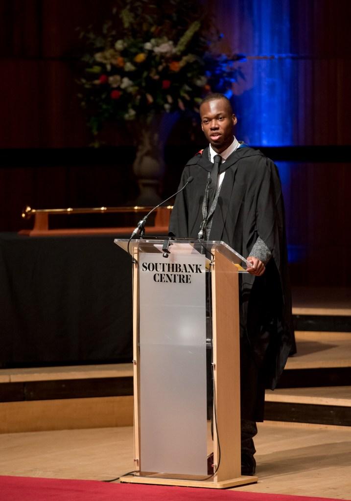 ChuChu speaking at a graduation ceremony