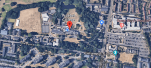 An aerial view of Froebel College, from Google Maps
