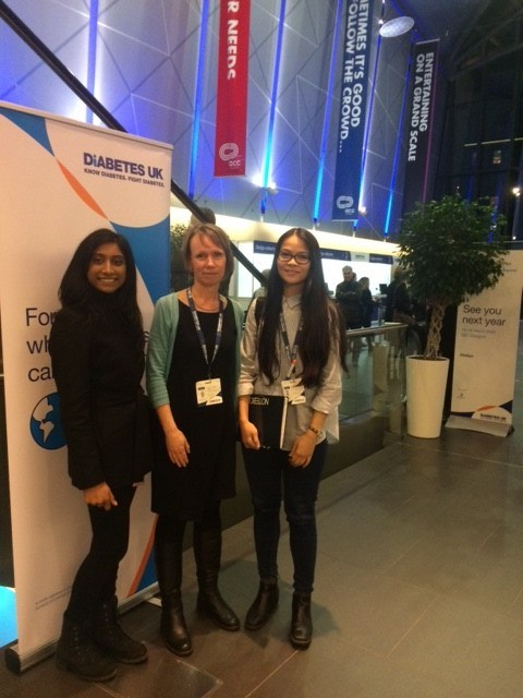 Roehampton Diabetes Research Team at Diabetes UK Professional Conference in Liverpool, Nirun, Kittiwadee and Astrid (middle)