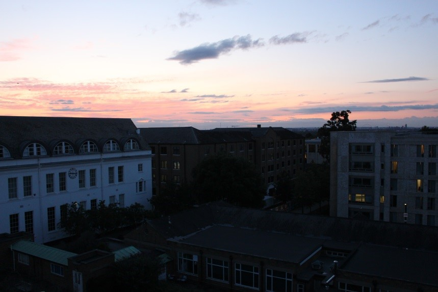 A view from Newman building of the Jubilee building, the David Bell Building and Elm Grove at sunset
