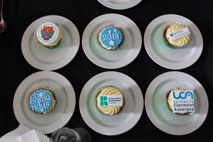 Cupcakes with decorations for each of the four universities involved in the Choreomundus programme