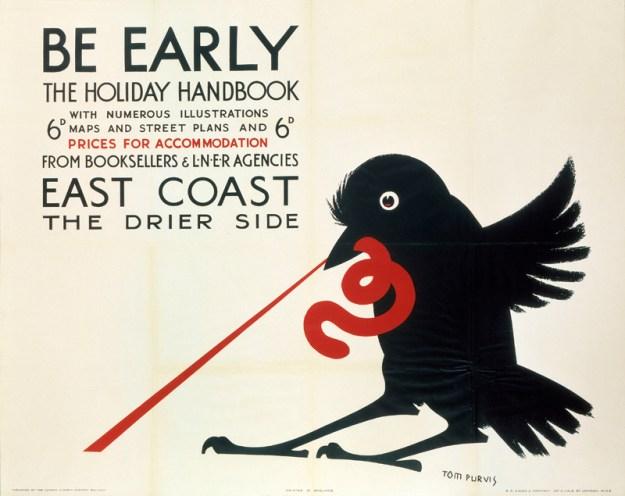 ÔBe EarlyÕ, LNER poster, 1923-1947. Том Парвис, классический плакат Англии Том Парвис. Первый дизайнер Великобритании. 10173318