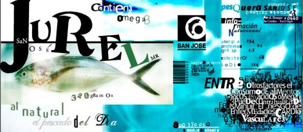 Девид Карсон. Дизайн-макет наклейки на рыбные консервы, 90-е