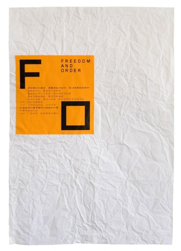 Плакат к выставке «Свобода и порядок». 2008 Плакат посвящен выставке четырех европейских типографов. Он представляет со-бой скомканный и распрямленный бумажный лист – главное креативное пространство и основной рабочий материал дизайнеров-графиков. Поверх него – наклейка, оранжевый квадрат с четкой типографикой. Идея выставки выражена предельно просто.