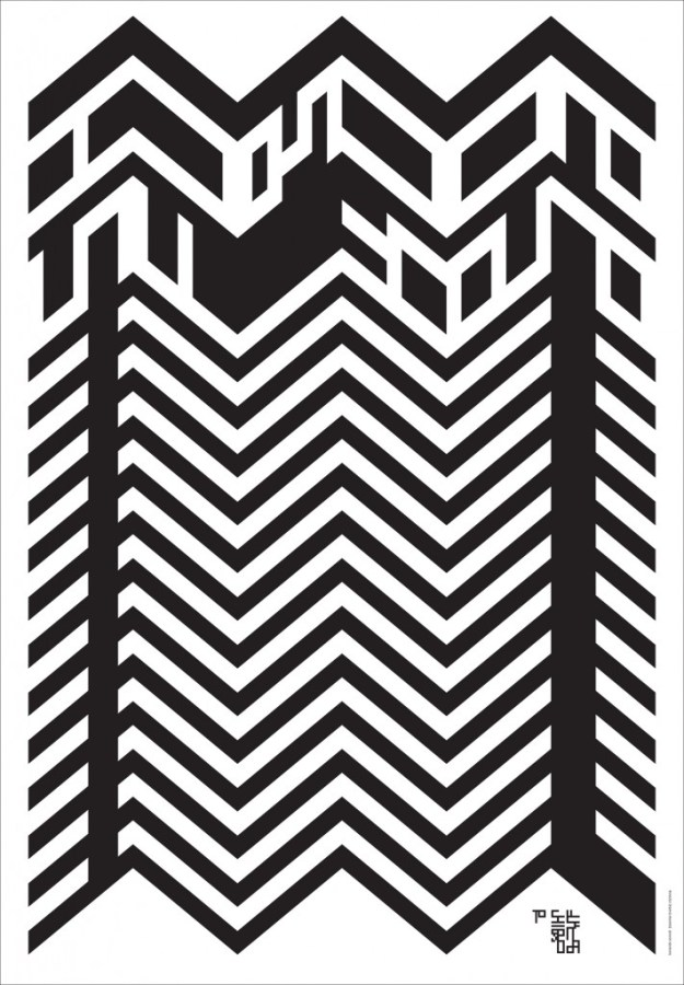 Плакат памяти Сигео Фукуды. 2009 Плакат для международной дизайнерской акции памяти японского дизайнера-графика Сигео Фукуды, великого плакатиста и мастера оптических иллюзий. Над-пись «To Shigeo Fukuda» на плакате Сонноли тоже превращает в оптическую загад-ку.