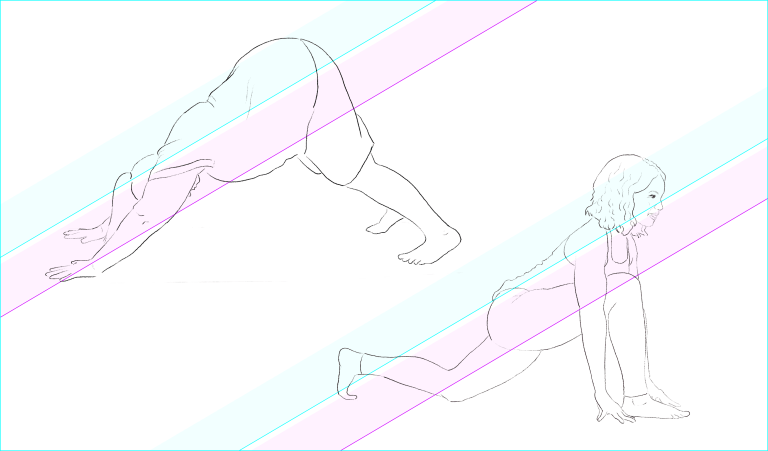 Shows two people doing yoga poses with gradient stripes across them